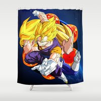 vegeta Shower Curtains featuring DBZ - Goku, Vegeta and Vegeto by Mr. Stonebanks