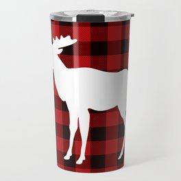 White Moose | Red Buffalo Plaid Travel Mug