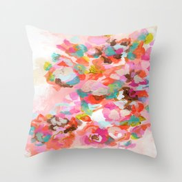 Coral Painted Floral Throw Pillow