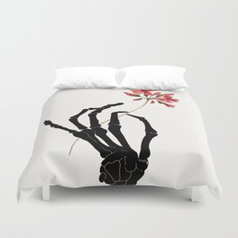 Skeleton Hand with Flower Duvet Cover