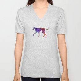 Polish Greyhound in watercolor Unisex V-Neck