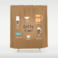 coffe Shower Curtains featuring Coffe Time! by Olga  Varlamova