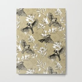 Flowers and Flight in Monochrome Golden Tan Metal Print