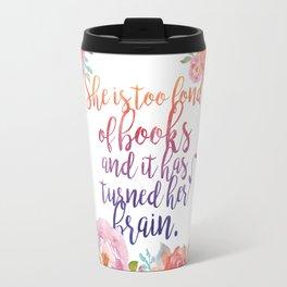 Too Fond of Books Travel Mug