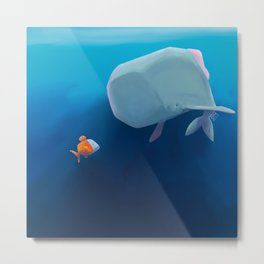 The little sperm whale and the fish Metal Print