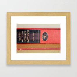 Modern Library in Red Framed Art Print