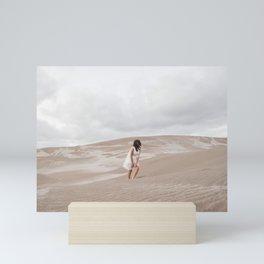 Girl in the dunes Mini Art Print