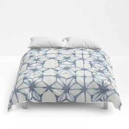 Simply Shibori Stars in Indigo Blue on Lunar Gray Comforters
