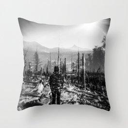 Girl Gazing at Mount Washington in Oregon - Santiam Pass - Holga black and white double exposure film photograph Throw Pillow