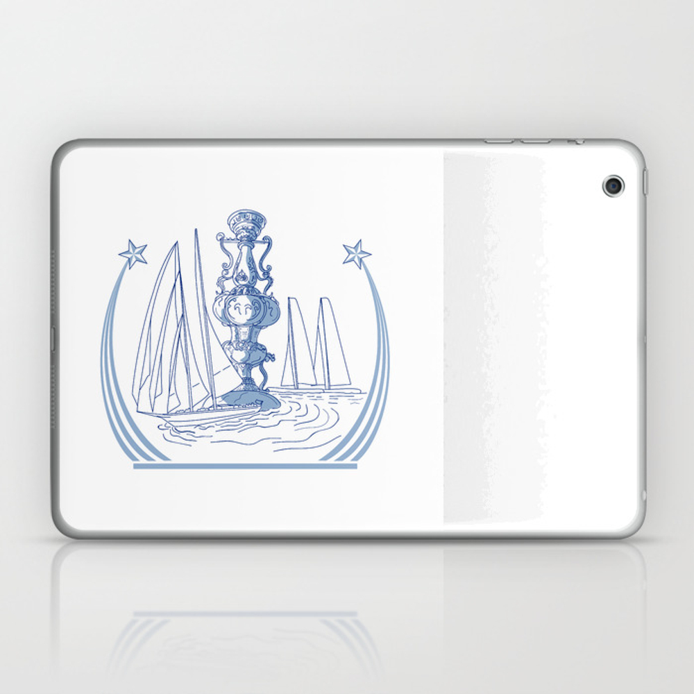 Yacht Club Racing Trophy Cup Drawing Laptop & Ipad Skin by Patrimonio LSK7819452