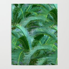ABSTRACTED BLUE-GREEN TROPICAL PALMS GREEN ART Poster