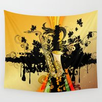 saxophone Wall Tapestries featuring Saxophone by nicky2342
