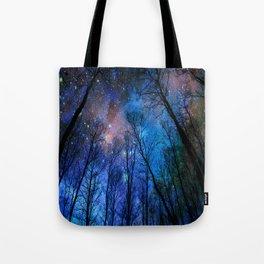 Black Trees Dark Blue Space Tote Bag