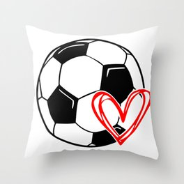 Love Soccer Heart Throw Pillow