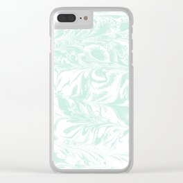 Suminagashi 3 mint and white marble spilled ink ocean swirl watercolor painting Clear iPhone Case