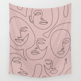 Blush Faces Wall Tapestry