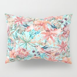 Tropical Jungle Flowers And Birds In Soft Pastels Pillow Sham