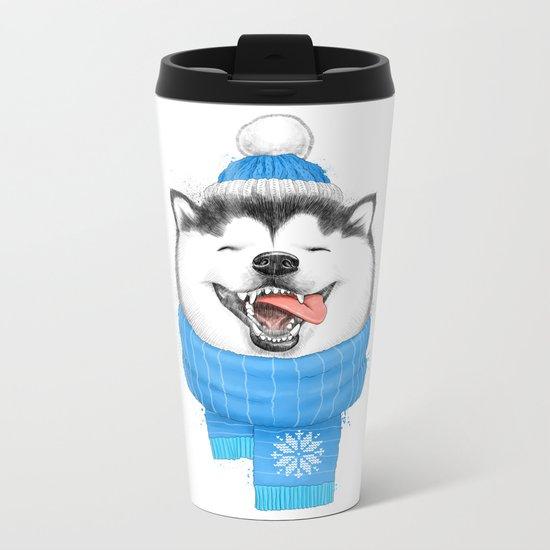 happy husky Metal Travel Mug