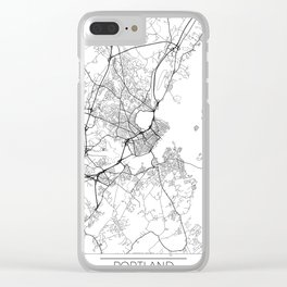 Portland ME Map White Clear iPhone Case