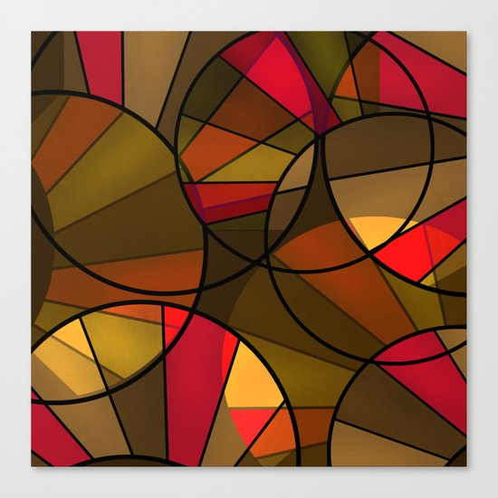 Red brown yellow black abstract pattern. Cycle . Canvas Print