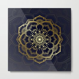 Mandala pattern in the style of Thai applied art in golden color. Metal Print