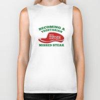 vegetarian Biker Tanks featuring Becoming A Vegetarian Is A Huge Missed Steak by AmazingVision