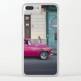 Vintage pink american car in the streets of La Havana, Cuba Clear iPhone Case