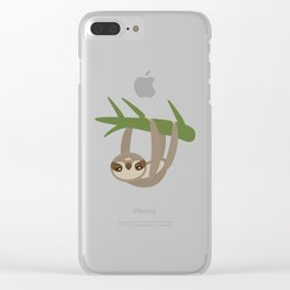 Three-toed sloth on green branch on white background Clear iPhone Case