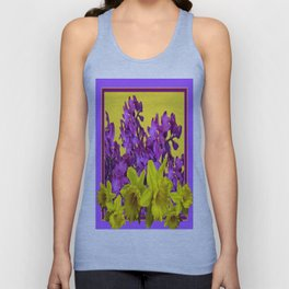 Sunny Yellow Daffodile Lilac  Purple Floral Art Unisex Tank Top