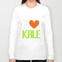 vegetarian Long Sleeve T-shirts featuring I Love Kale - Vegan & Vegetarian - Kale Love by Be Kindly