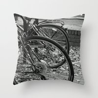 bikes Throw Pillows featuring Bikes  by Renatta Maniski-Luke