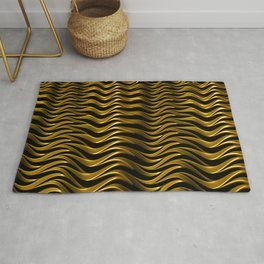 GRILL woven gold fractal waves on black abstract design Rug
