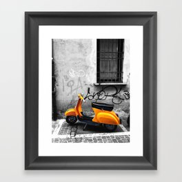 Orange Vespa in Bologna Black and White Photography Framed Art Print