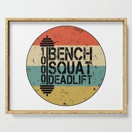 1000 Pounds Bench Squat Deadlift Powerlift Club Fitness Bodybuilder Bodybuilding Vintage Retro Serving Tray