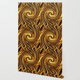 Gold Brown Abstract Sun Rotation Pattern Wallpaper