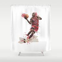 nba Shower Curtains featuring Jordan 23 by Asta Dagmar