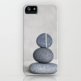 Zen cairn pebble stone balance grey iPhone Case