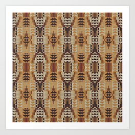 Orange Khaki Dark Brown Mosaic Pattern Art Print