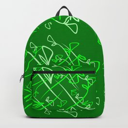 Pattern of plant mints and olive elements on a green background in a geometric style. Backpack
