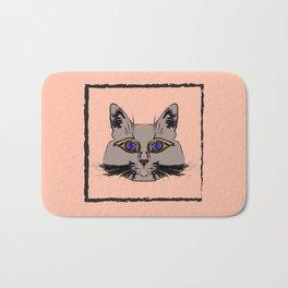 Cute gray cat. Muzzle cartoon cat in a box. Bath Mat