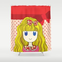 Little Girl with Ribbon Shower Curtain