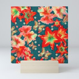 Amaryllis and Butterflies 2 Mini Art Print