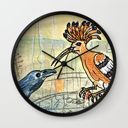 The Crow and the Hoopoe Wall Clock