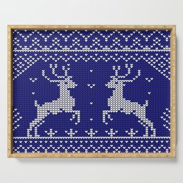 Blue Christmas Wool Pattern Serving Tray