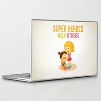 super heroes Laptop & iPad Skins featuring Super Heroes Help Others by youngmindz