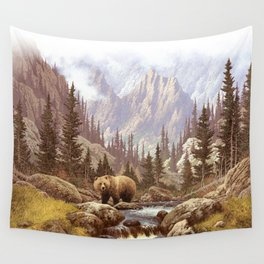 Grizzly Bear Landscape Wall Tapestry