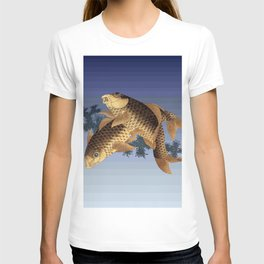 Hokusai – two carps -葛飾 北斎,engraving,carpa, fish. T-shirt
