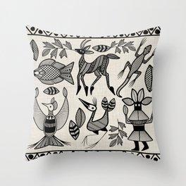 African Senufo Korhogo Tribal Ethnic Art Seamless Pattern Throw Pillow
