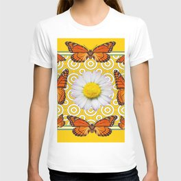 Shasta Daisy Monarch Butterflies Yellow Pattern Art T-shirt