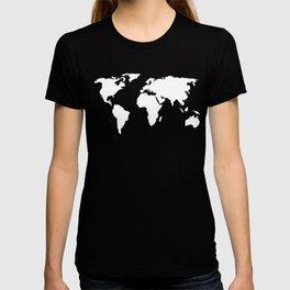World Map White on Black T-shirt